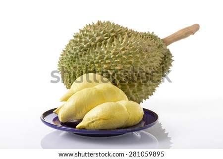 yellow durian lobes and Mon Thong durian fruit over white background - stock photo