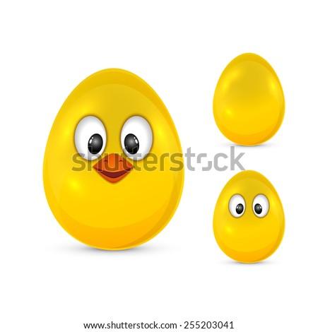 Yellow Easter egg with eyes and beak isolated on white background, illustration - stock photo