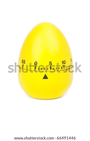 yellow eggs timer isolated on white - stock photo