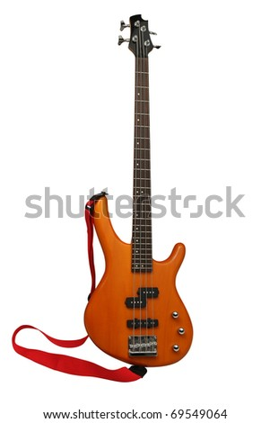 yellow electric guitar on white background