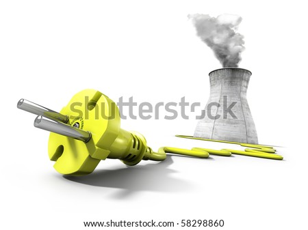 Yellow electrical plug with cooling tower of nuclear power plant in the background - stock photo