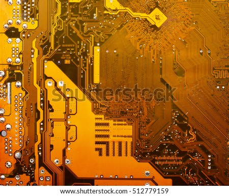 yellow electronic circuit mother board pattern background