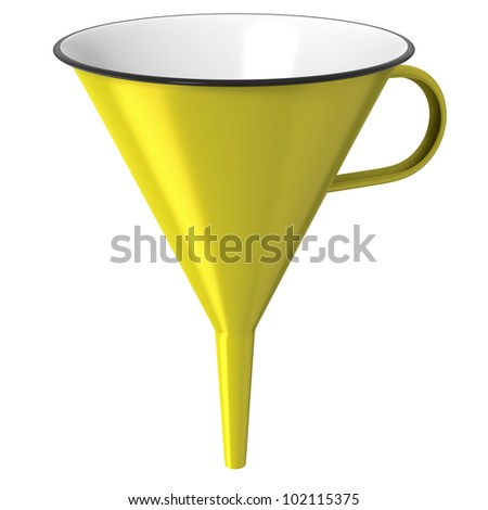 Yellow enamel funnel or cone isolated on white background - stock photo