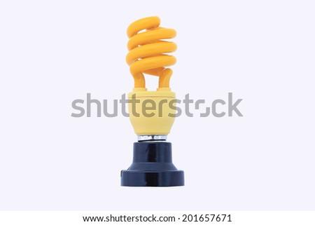 Yellow energy saving lamp. Illustration on white background. - stock photo