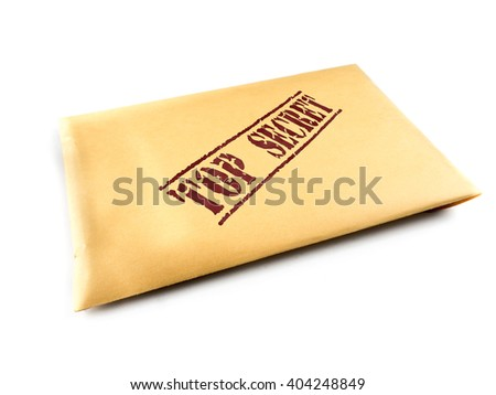 Yellow envelope with top secret files on white background - stock photo