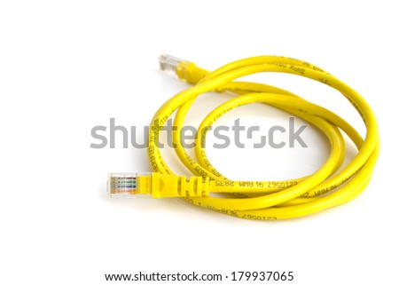 Yellow ethernet cable isolated on white background - stock photo