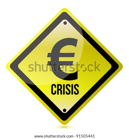 yellow euro crisis sign illustration design on white - stock photo