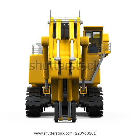Yellow Excavator Isolated - stock photo