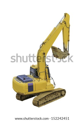 yellow excavator isolated on white background with clipping path - stock photo