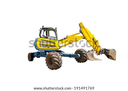 Yellow excavator on the white background