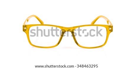 Yellow Eye Glasses Isolated on White background - stock photo