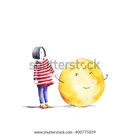 Yellow face with an inspired expression on a white background. Funny happy character. - stock photo