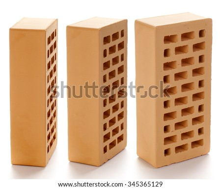 Yellow facing brick on a white background.