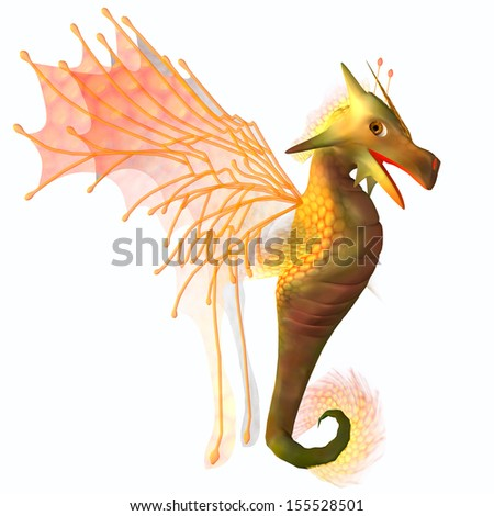 Yellow Faerie Dragon - A creature of myth and fantasy the dragon is a friendly animal with horns and wings. - stock photo