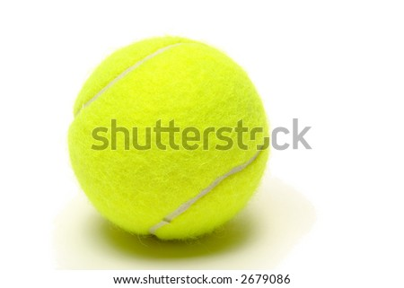 Yellow felt championship regulation tennis ball on white