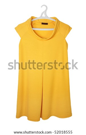 yellow female dress isolated on the  white  background - stock photo