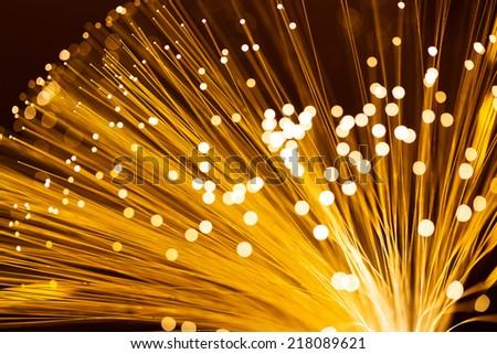 Yellow fiber optics cable  - stock photo