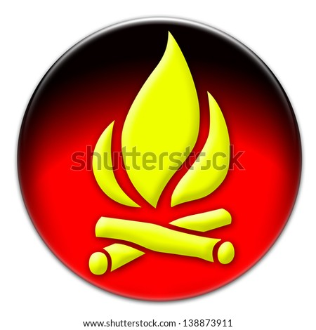 Yellow fire icon on a red glassy button isolated over white background - stock photo