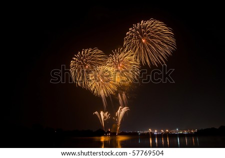 yellow fireworks - stock photo