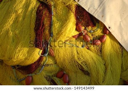Yellow Fishing Net - stock photo