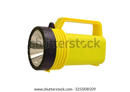 Yellow Flashlight isolated on white background - stock photo