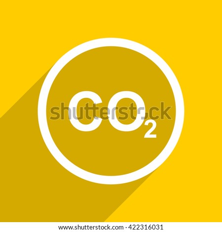 yellow flat design carbon dioxide web modern icon for mobile app and internet - stock photo