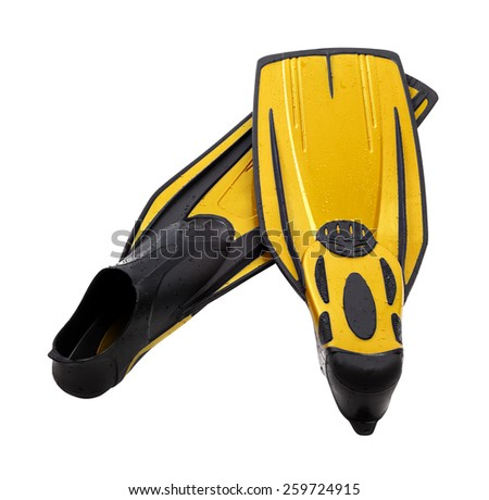 Yellow flippers for diving with water drops. Isolated on white background  - stock photo