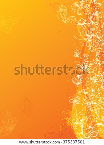 Yellow floral background. Bright ornate floral elements and butterflies. There is place for your text on the left.  - stock photo