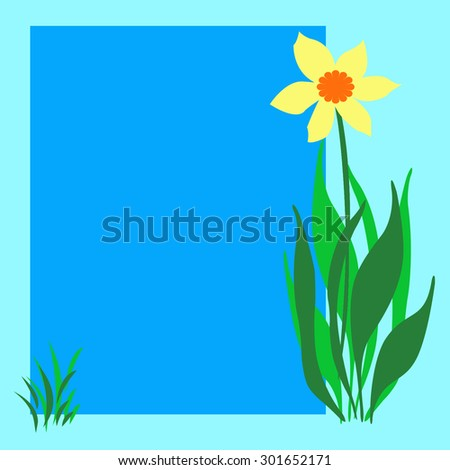 yellow flower and grass on blank poster illustration - stock photo