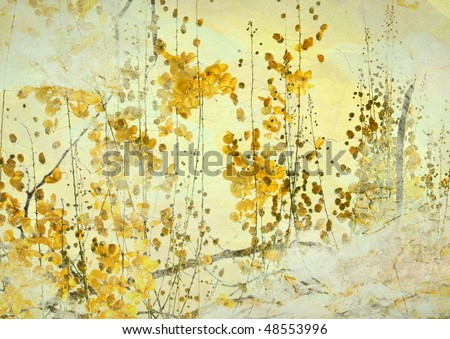 Yellow Flower Grunge Art Background - stock photo