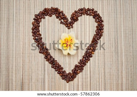 Yellow flower in the coffee beans in the shape of the heart - stock photo