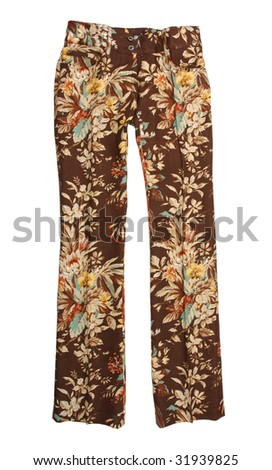 yellow flower trousers pants jeans - stock photo