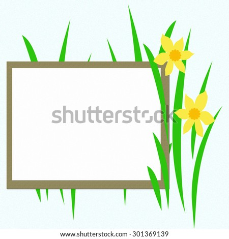 yellow flowers and grass on blank poster illustration - stock photo