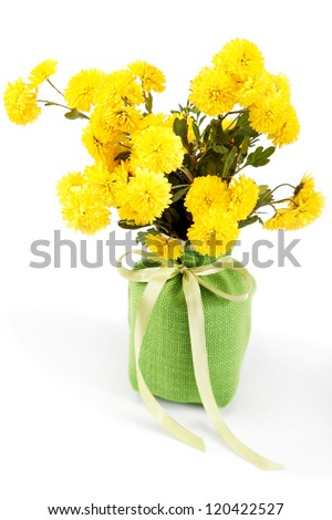 Yellow flowers, chrysanthemum flowers in a vase on a white background.