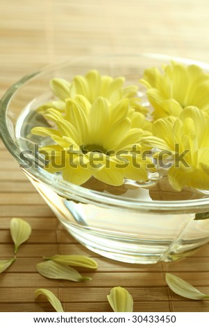 Yellow flowers floating in bowl. spa background
