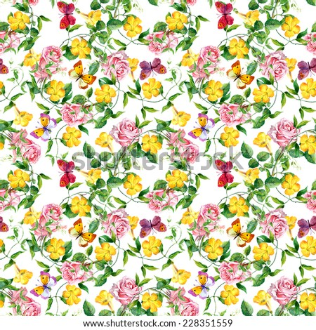 Yellow flowers, roses and butterflies. Seamless floral background. Watercolor - stock photo