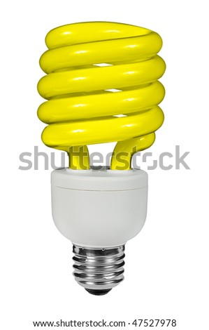 Yellow Fluorescent lightbulb isolated over white with a clipping path - stock photo