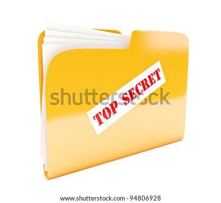 yellow folder 3d icon with Top secret label isolated on white - stock photo