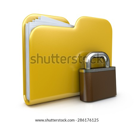 Yellow folder icon and lock. Data security concept. 3d illustration a white background  - stock photo