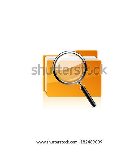 Yellow folder icon and magnifying glass. Raster copy. - stock photo