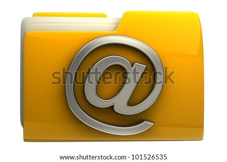 Yellow folder icon with E-mail symbol isolated on white background High resolution - stock photo