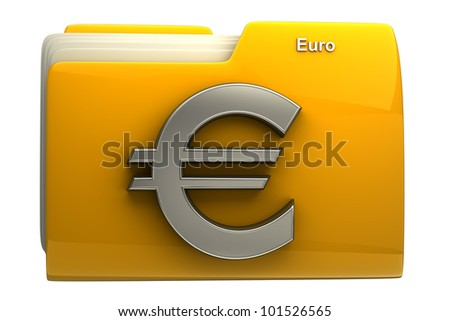 Yellow folder icon with Euro symbol isolated on white background High resolution