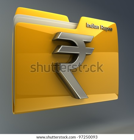 Yellow folder icon with Indian rupee symbol High resolution 3D