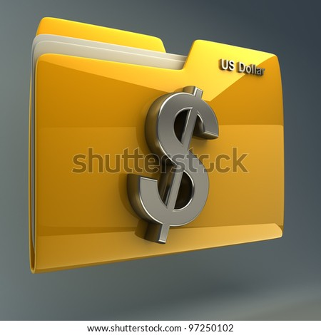 Yellow folder icon with US dollar symbol High resolution 3D