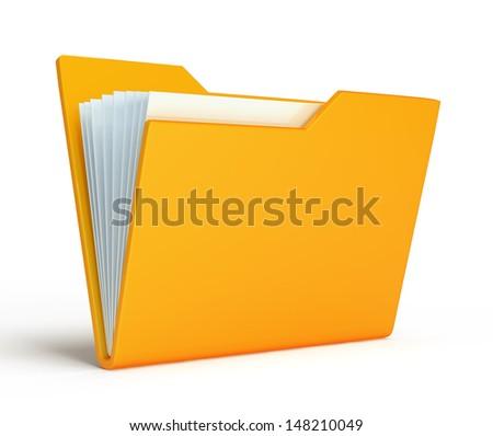 Yellow folder.  Isolated on white background - stock photo