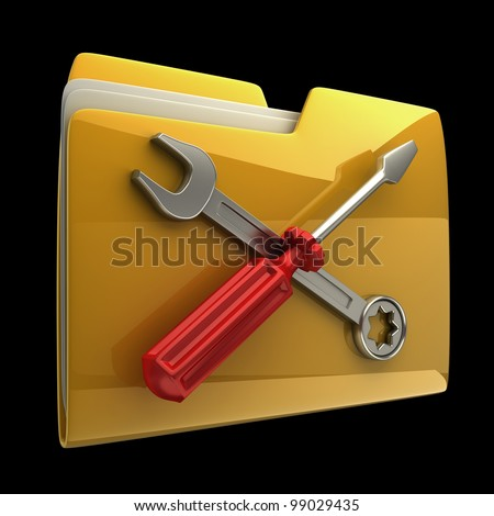 Yellow folder Screwdriver and Wrench icon isolated on black background High resolution 3D - stock photo