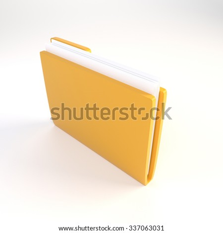 Yellow folder with a blank sheet on a white background. 3D illustration. Render