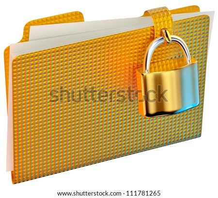 yellow folder with golden hinged lock stores important documents - stock photo