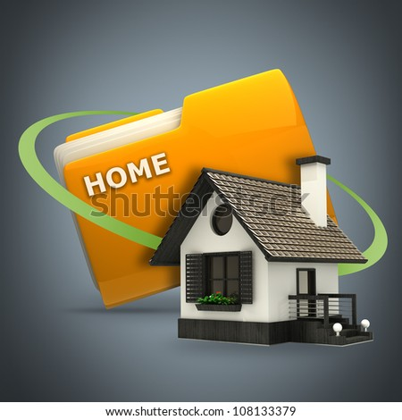 Yellow folder with house Icon High resolution 3D - stock photo