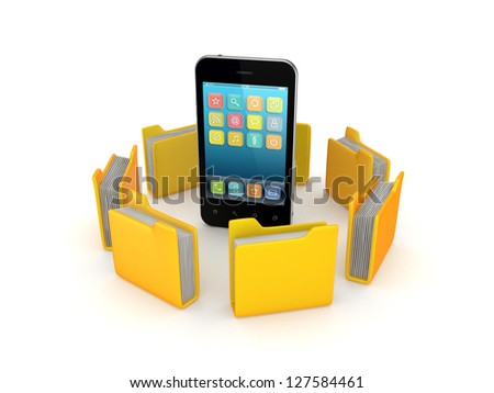 Yellow folders around mobile phone.Isolated on white background.3d rendered. - stock photo